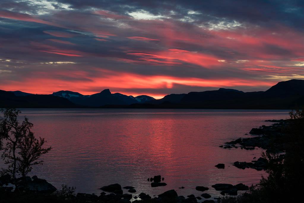 Sonnenuntergang in Kilpisjärvi